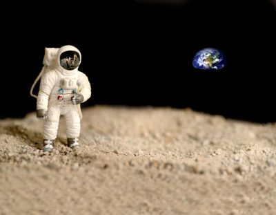 mondel spaceman on moon surface